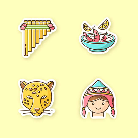 Peru printable patches. Peruvian art, cuisine, animals, costume. Siku, ceviche, jaguar, chullo hat. Customs of andean culture. RGB color stickers, pins and badges set. Vector isolated illustrations Vector Illustration