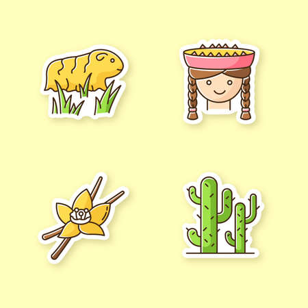 Peru printable patches. Incas country features. RGB color stickers, pins and badges set. Guinea pig, peruvian girl, vanilla, cactuses. Peruvian traditions, nature. Vector isolated illustrations