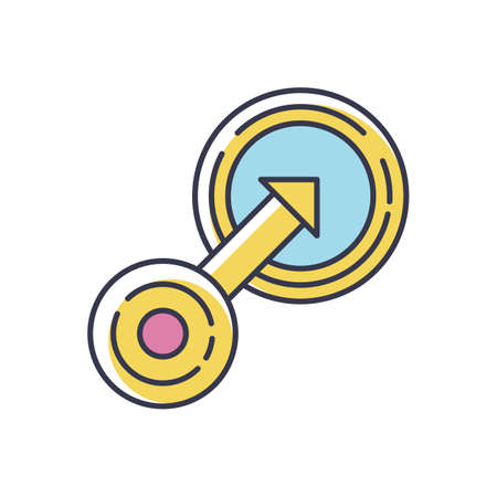 Native integration RGB color icon. Targeting in business strategy. Arrow go in circle. Marketing to focus group. Achieve goal. Customization progress. Insert option. Isolated vector illustration