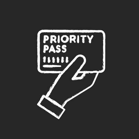 Priority pass chalk white icon on black background. Boarding ticket for airplane flight. VIP document for passenger service. Club card to prove membership. Isolated vector chalkboard illustration