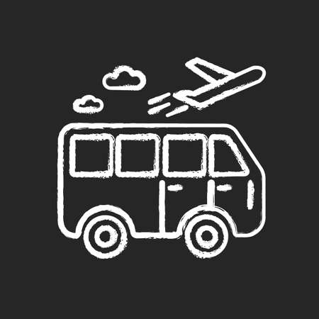 Travel means chalk white icon on black background. Transportation types for traveling. Public transport station for tourism. Go on vacation. Journey and trip. Isolated vector chalkboard illustration Ilustración de vector