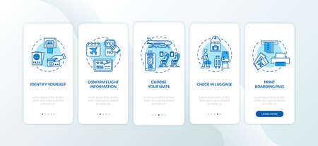 Self check in onboarding mobile app page screen with concepts. Airport self service terminal walkthrough five steps graphic instructions. UI vector template with RGB color illustrations