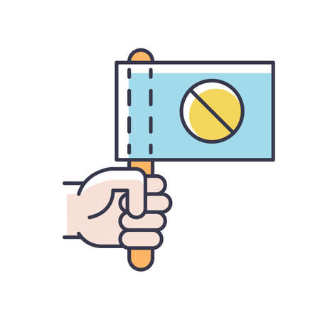 Activist RGB color icon. Hand holding flag with stop sign. Protester rally. Demonstration in digital marketing. Strike action. Resistance campaign, revolution. Isolated vector illustration