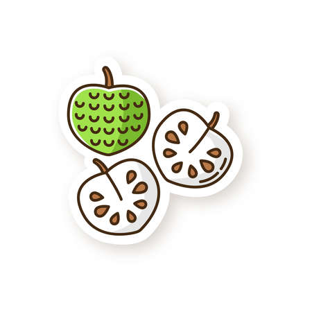 Cherimoya patch. Delicious custard apple. Annona cherimola. Sweet ripe tropical fruit. Healthy vegan diet. Exotic organic product. RGB color printable sticker. Vector isolated illustration