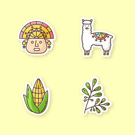 Peru printable patches. Andean country features. RGB color stickers, pins and badges set. Alpaca, incas, corn, coca. Peruvian customs. Traveling in South America. Vector isolated illustrations