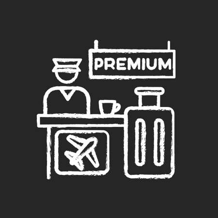 Premium airplane reservation chalk white icon on black background. Luxury lounge area for comfortable waiting. Airline services helpdesk. Checked luggage. Isolated vector chalkboard illustration