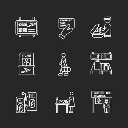 Airport terminal chalk white icons set on black background. Flight information panel. Priority pass. Security check luggage. Passenger boarding process. Isolated vector chalkboard illustrations