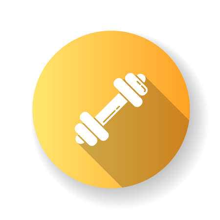 Dumbbell yellow flat design long shadow glyph icon. Gym equipment. Sports goods. Active lifestyle. Power lifting. Weightlifting with barbell. Fitness workout. Silhouette RGB color illustration