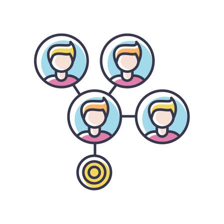 Mass effect RGB color icon. Social media connection. Network spread between people. Share data on cloud. Target marketing. Contact and relationship. Info management. Isolated vector illustration Illustration