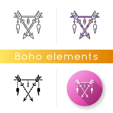 Arrows and teeth amulet in boho style icon. Native American Indian mystic symbol. Ethnic home decoration, tribal charm. Linear black and RGB color styles. Isolated vector illustrations