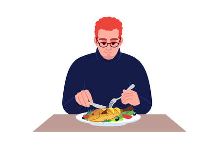 Redhead guy eating seafood semi flat RGB color vector illustration. Dinner at restaurant. Caucasian man enjoying salmon with lemon and vegetables isolated cartoon character on white background