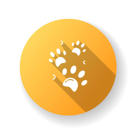 Pet paw prints yellow flat design long shadow glyph icon. Animal footprints. Dog walk trail. Track of cat steps. Bear pawprint. Puppy foot. Shelter sign. Zoo symbol. Silhouette RGB color illustration