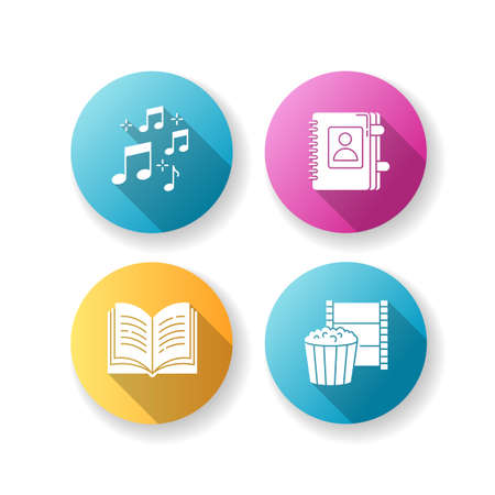 Recreation flat design long shadow glyph icons set. Musical notation. Sound notes. Personal diary. Write in notebook. Hobbies for relaxation. Leisure activities. Silhouette RGB color illustrations Vektoros illusztráció