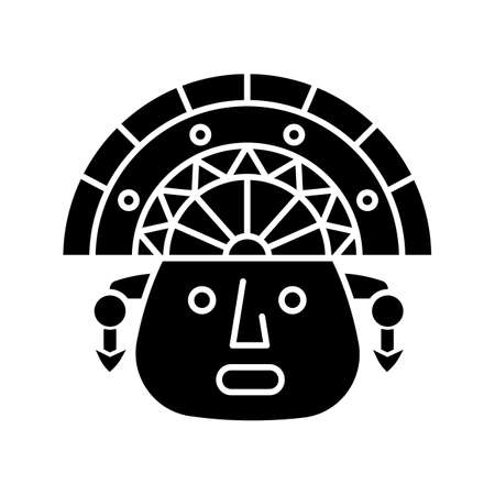 The Incas black glyph icon. Man face in traditional inca headdress. Aztec ceremonial mask. Hispanic god. Peruvian culture. Silhouette symbol on white space. Vector isolated illustration