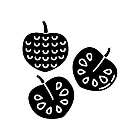 Cherimoya black glyph icon. Delicious custard apple whole and cut in half. Annona cherimola. Sweet ripe tropical fruit. Healthy diet. Silhouette symbol on white space. Vector isolated illustration 矢量图像