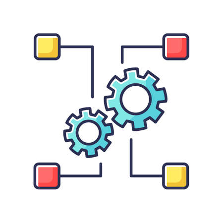 Outsourcing RGB color icon. Manufacture system, industry. Transferring employees and production assets, companies and factories cooperation. Isolated vector illustration
