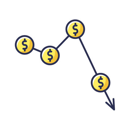 Crysis, currency depreciation yellow RGB color icon. Inflation, exchange rates decline. Commerce, business fail and profit reduction. Isolated vector illustration