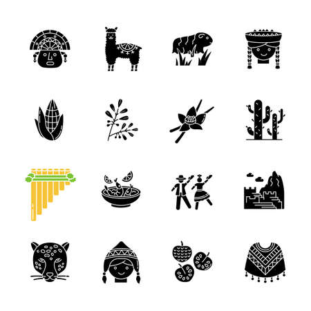 Peru black glyph icons set on white space. Peruvian sights, culture, nature, cuisine. Traveling in Latin America. Alpaca, guinea pig, siku, ceviche. Silhouette symbols. Vector isolated illustration Stock Vector - 143159164