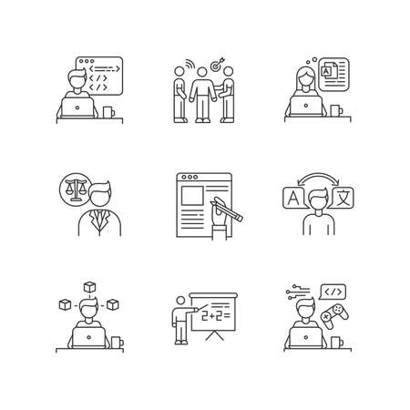 Freelance jobs pixel perfect linear icons set. Creative design and translation, teaching, copywriting. Customizable thin line contour symbols. Isolated vector outline illustrations. Editable stroke