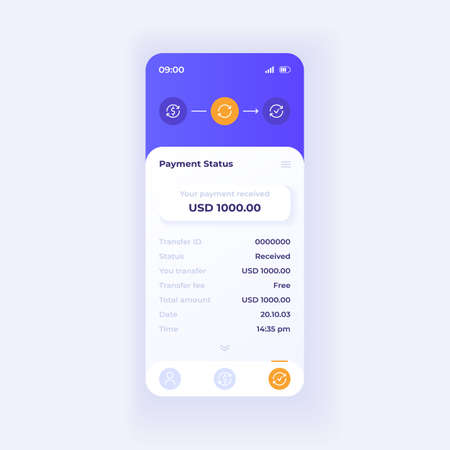 Internet wallet application smartphone interface vector template. Mobile app page light theme design layout. Payment status screen. Flat UI for application. Transaction information phone display  イラスト・ベクター素材