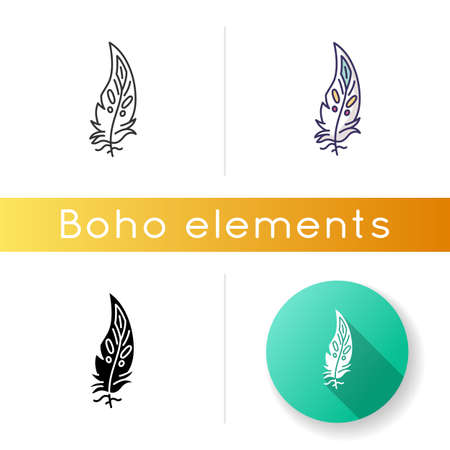 Boho feather icon. Native American Indian tribal motif, mystic symbol. Bohemian chic fashion and hippie style ethnic accessory. Linear black and RGB color styles. Isolated vector illustrations