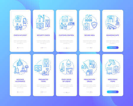 Airport terminal onboarding mobile app page screen with concepts set. Commercial airline services walkthrough five steps graphic instructions. UI vector template with RGB color illustrations
