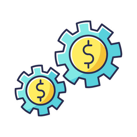 Assets RGB color icon. Business mechanism, budget management, working financial investments. Economics, productivity optimization commercial strategy. Isolated vector illustration