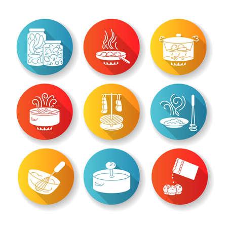 Ensemble d'icônes de glyphe grandissime de conception plate de préparation des aliments. Différentes techniques de cuisson, processus de fabrication des repas. Divers ingrédients et ustensiles de cuisine silhouette illustrations couleur RVB Vecteurs