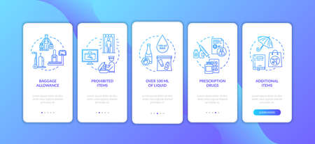 Hand luggage onboarding mobile app page screen with concepts. Baggage handling in airport walkthrough five steps graphic instructions. UI vector template with RGB color illustrations