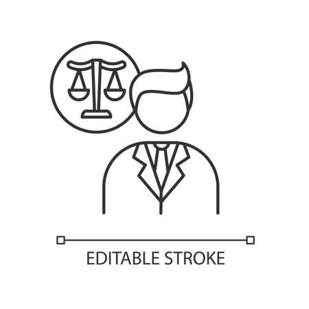 Legal services pixel perfect linear icon. Juridical consultation, legal advice and support. Thin line customizable illustration. Contour symbol. Vector isolated outline drawing. Editable stroke