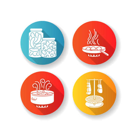 Culinary techniques flat design long shadow glyph icons set. Different food preparation methods, cooking process. Boiling, frying, canning and smocking silhouette RGB color illustrations