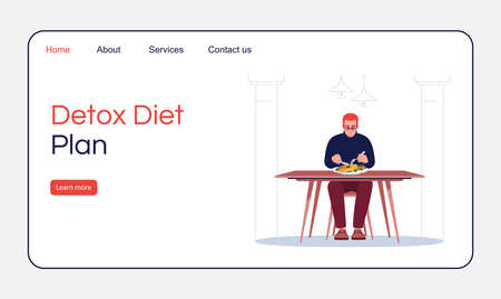 Detox diet plan landing page vector template. Healthy nutrition website interface idea with flat illustrations. Seafood restaurant homepage layout. Dietologist service cartoon web banner, webpage Imagens - 143138345