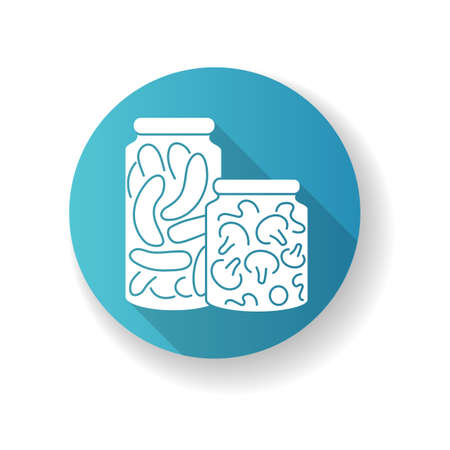 Pickling blue flat design long shadow glyph icon. Food conservation, vegetables preservation. Raw veggies fermentation in brine. Canned cucumbers and mushrooms silhouette RGB color illustration