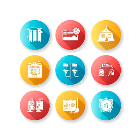 Living in dormitory flat design long shadow glyph icons set. Lockers. Mixed bedroom. Company dorm. Neighborhood. Cleaning schedule. Quiet hours. Communal bathroom. Silhouette RGB color illustration