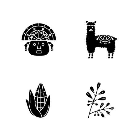 Peru black glyph icons set on white space. Andean country features. Alpaca, incas, corn, coca. Incas history, and life traditions. Peruvian customs. Silhouette symbols. Vector isolated illustration Ilustración de vector