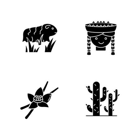 Peru black glyph icons set on white space. Incas country features. Guinea pig, peruvian girl, vanilla, cactuses. Traveling in South America. Silhouette symbols. Vector isolated illustration Ilustracja
