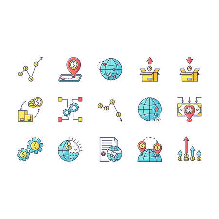 Global trade RGB color icons set. World economics, investment and income. Export and import, business assets and natural resources. Isolated vector illustrations