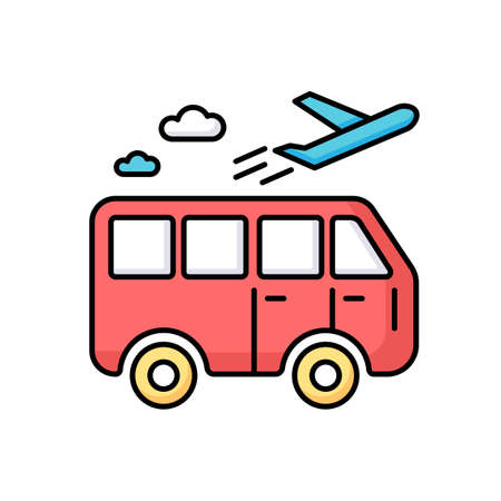 Travel means RGB color icon. Transportation types for traveling. Public transport station for tourism. Bus ride. Airplane departure. Going on vacation. Journey and trip. Isolated vector illustration Ilustración de vector