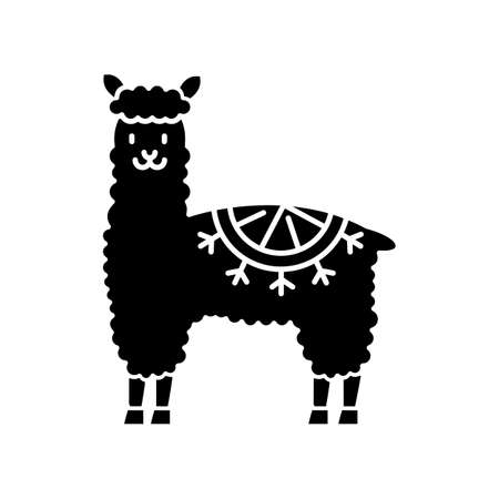 Alpaca black glyph icon. Peruvian domesticated cute woolly llama. South american adorable camelid. Hoofed ruminant animal from Andes. Silhouette symbol on white space. Vector isolated illustration
