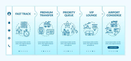 Airport premium service onboarding vector template. Luxurious airline company responsive mobile website with icons. First class travel benefits webpage walkthrough step screens. RGB color concept