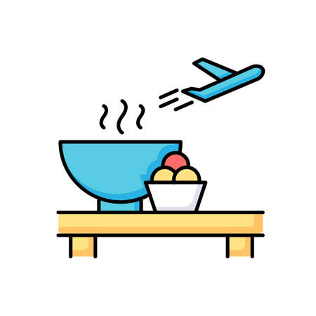 Airport restaurant RGB color icon. Serving food in aircraft terminal cafe. Eat at cantine before airplane flight. Dining area before plane departure. Launch for passenger. Isolated vector illustration