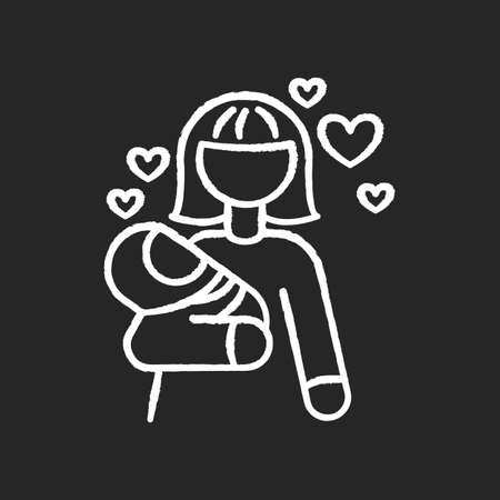 Babylover chalk white icon on black background. Parenthood and motherhood. Woman for babysitting. Mother with son. Mom with daughter. Nurturing parent. Isolated vector chalkboard illustration Ilustración de vector