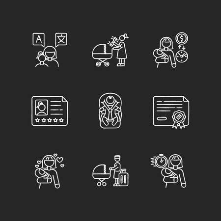 Babysitter service chalk white icons set on black background. Speak languages with toddler. Woman with rattle toy. Pay rate for babysitting. Child day care. Isolated vector chalkboard illustrations Ilustração