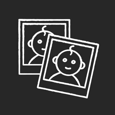 Baby photo report for parents chalk white icon on black background. Instant photos of child. Little kid smiling on images. Pictures with border of newborn. Isolated vector chalkboard illustration