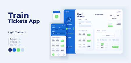 Train tickets app screen vector adaptive design template. Internet booking service application day mode interface with flat character. User profile smartphone, tablet, smart watch cartoon UI