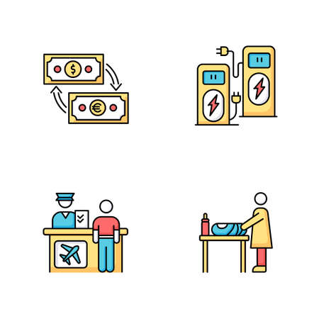 Airport terminal RGB color icons set. Money exchange. Power recharge. Self service kiosk. Check in desk for flight. Changing table for mother and baby. Isolated vector illustrations Vettoriali