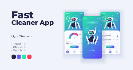 Fast cleaner app cartoon smartphone interface vector templates set. Mobile app screen page day mode design. Storage capacity and productivity management UI for application. Phone display Vector Illustration