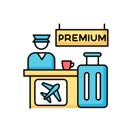 Premium airplane reservation RGB color icon. Luxury lounge area for comfortable waiting. Airline services helpdesk. Checked luggage, baggage near counter. Isolated vector illustration