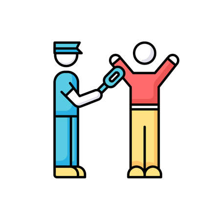 Body scanning RGB color icon. Airport security with metal detector. Passenger getting checked before flight. Smuggle precaution in aircraft. Search for contraband. Isolated vector illustration