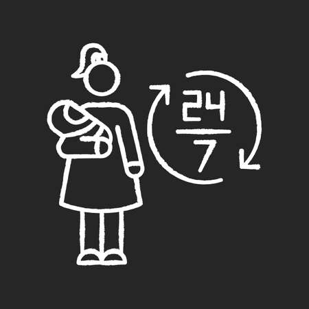 Full time babysitter chalk white icon on black background. 24 7 looking after newborn kid. Babysitting services during full day. Around clock help with kid. Isolated vector chalkboard illustration